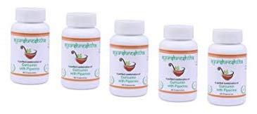 Ayurshreshtha, Curcumin (95%) Extract with Piperine(5%) Organic Turmeric Veg Capsules 60 tab Non-GMO & Gluten Free (Pack of 5)