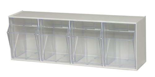 Quantum Storage Systems White Quantum QTB304 Clear 6-58-Inch by 23-58-Inch by 8-18-Inch Tip Out Bin System