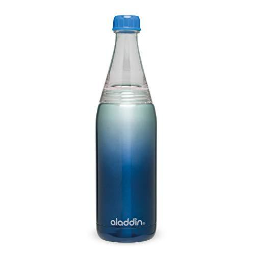 Aladdin Fresco Twist & Go Edelstahl für Kaltgetränke Trinkflasche, Blau, 7,9 x 8,6 x 26,7 cm