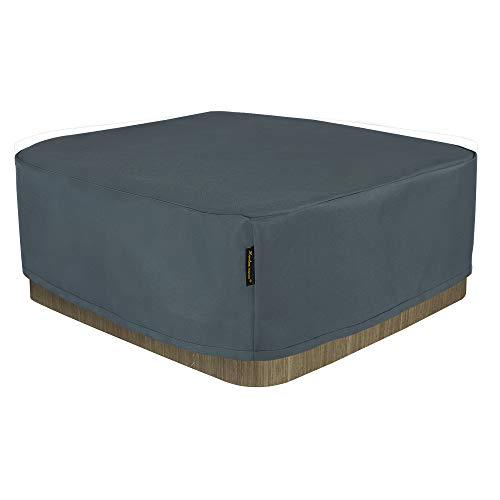 Hentex Cover Rechteckige Allwetter Garten Whirlpool Abdeckung, Schutz vor Wind UV schützende (Grau (200W*200D*85H cm)