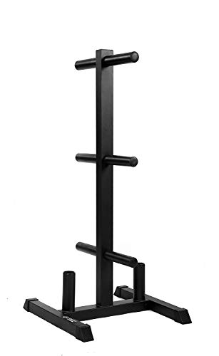 "Weight Rack and 2 Bar Holder for 2"" Olympic Plates by D1F – Free-Standing Sturdy Plate Racks Stand with 6 Pegs for Weighted Plates and Barbells - Stores Up To 850 lb - Gym Equipment Accessories"