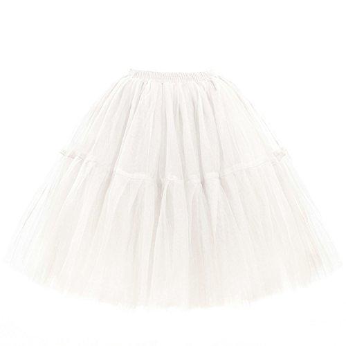 Babyonline Damen Tüllrock 5 Lage Prinzessin Kleider Knielang Petticoat Ballettrock Unterrock Pettiskirt Swing Einheitsgröße - Weiß