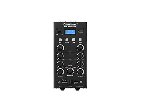 OMNITRONIC GNOME-202P Mini-Mixer schwarz | 2-Kanal-DJ-Mixer mit Bluetooth und MP3-Player im Miniaturformat | Regelbarer Mikrofoneingang/Kopfhörerausgang über 6,3-mm-Klinke