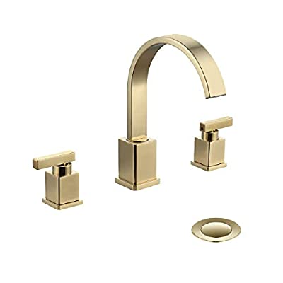 WorbWay Bathroom Faucet Gold, 2 Lever Handle 8 inch Widespread Bathroom Sink Faucet with Pop-Up Drain