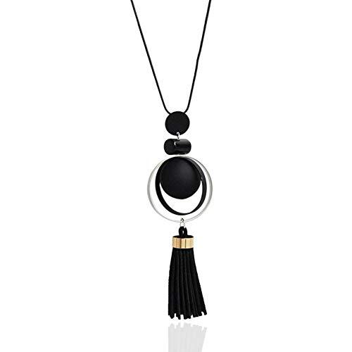 Burenqi Moda Mujer Collar Cadena Larga Collares y Colgantes Cuentas de Madera Collar de borlas para Las Mujeres joyería,Black