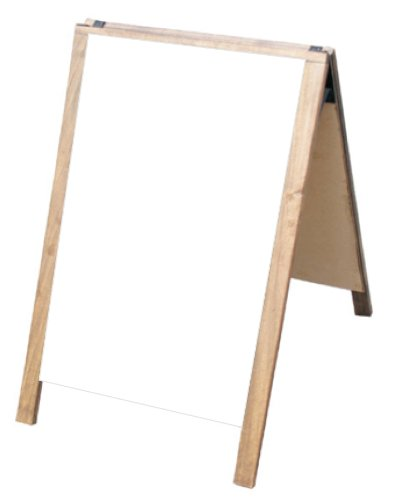 "NEOPlex 24"" x 36"" Hardwood Sidewalk Sandwich Board A-Frame Sign with Dry Erase Surfaces - Dark Walnut Stain Finish"