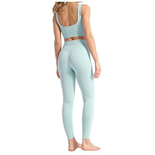 Rouped Conjunto Deporte Mujer Fitness,Ropa de Deporte Mujer,Conjunto Yoga Mujer,Ropa Deportiva Mujer Gym Conjuntos,Chaleco y Leggins Largos Mujer Deporte,RTZ15
