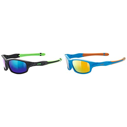 Uvex Kinder Sportstyle 507 Sportsonnenbrille, Black Mat Green, One Size & Kinder Sportstyle 507 Sportbrille, Blue-orange, One Size