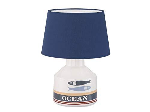 Maritime Honsel - Lampada da tavolo con paralume in tessuto blu e LED E27, base in ceramica bianca