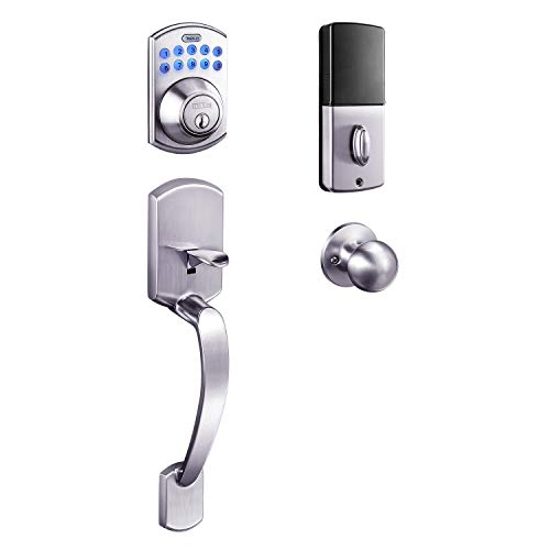 Keypad Deadbolt, Tacklife Electronic Keypad Lock Single Cylinder Front Door Handleset with Polo Knob Featuring 1-Touch Motorized Locking, Auto Locking and Easy to Install, Satin Nickel- EKPH1A