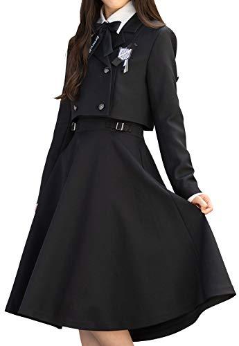 [アリサナ]arisana 卒業式 小学生 女の子 スーツ 子供服 フォーマル ペイトン (ジャケット + シャツ + ワンピース + リボンタイ + ワッペン の 5点 セット) 160cm