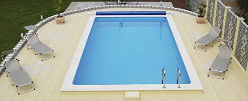 Steinbach Styroporpool Eco Set 1, 600 x 300 x 150 cm - Folienfarbe blau: 0,8 mm Stärke, 1 Skimmer, 2 Einlaufdüsen, Filteranlage Compact 8, 016110