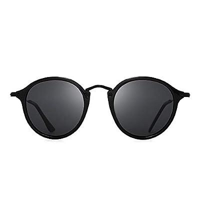JIM HALO Retro Polarized Round Sunglasses for Women Vintage Small Mirror Glasses