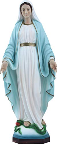 Proposte Religiose Statua della Madonna Immacolata o Miracolosa in Resina. Altezza cm 30. Dipinta a Mano.