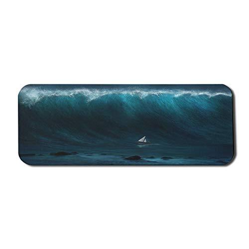Ocean Computer Mouse Pad, kleines Boot, das von einem großen Wellen-Seesturm-Tsunami-Marine-Wasserthema erfasst wird, rechteckiges rutschfestes Gummi-Mauspad großes dunkelblaues Weiß