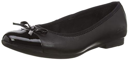 Clarks Scala Bloom K, Ballerine, Nero (Black Leather Black Leather), 35 EU