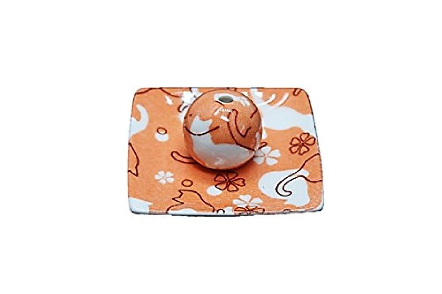 望みしてはいけない幸運なネコ ランド オレンジ 小角皿 お香立て 陶器 ねこ 製造 直売