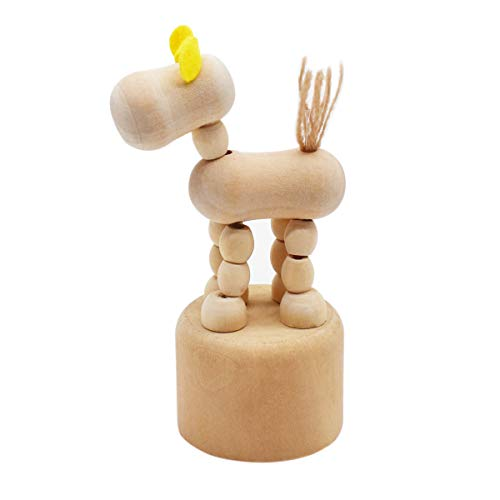 Qixuer 1 Pieza Marioneta móvil de Madera,Adornos de Estatuilla de Escritorio Obra de Arte de Madera Caballo Artesanía Juguete para Habitación de los Niños Estantes Pequeñas Decoraciones