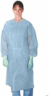 Medline CRI4000B Polypropylene Isolation Gowns with Side Neck Ties, Regular/Large, Blue (Pack of 50)