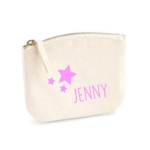 Schminktasche für Mädchen | personalisiert mit Namensdruck & Sterne | kleine Kosmetiktasche für Kinder inkl. Name | Make-up Täschchen mit Reißverschluss | S (14 x 11 cm beige)