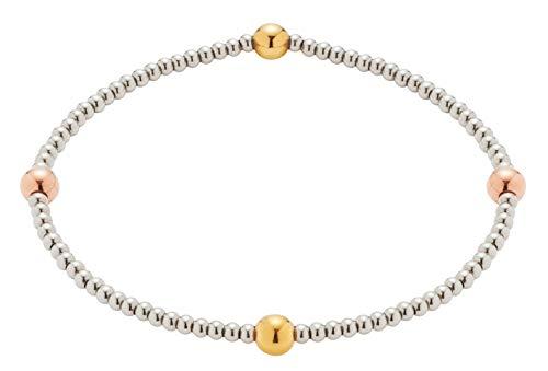 CIAO BY LEONARDO Damen-Armband Pia, Edelstahl mit Kügelchen in silberfarben, IP gold und roségold, elastisch dank Stretch, Länge 550 mm, 016926