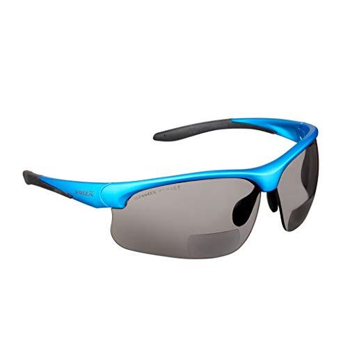 Gafas bifocales de Seguridad para Lectura voltX 'Constructor Ultimate' (Montura Azul, Lentes ahumadas Dioptría +2.0) CE EN166FT - Bifocales Ciclismo Deportivo Premium - UV400