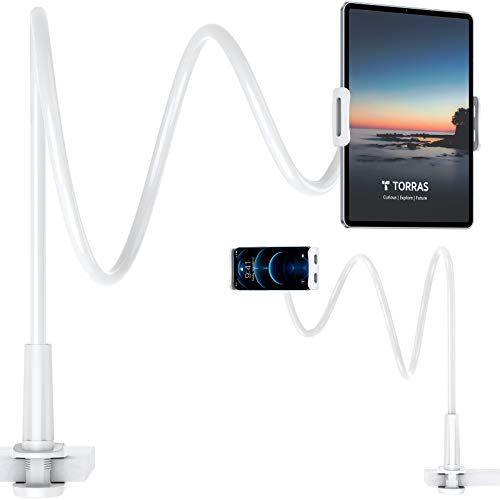"""IPad Stand & Gooseneck Tablet Holder Mount, TORRAS 6""""-13.7"""" Flexible 43.31 inches [Ultra Long Arm] Compatible with iPad Mini/ Kindle Fire Tablet/ Galaxy Tab/ Nintendo Switch/ iPhone and More"""