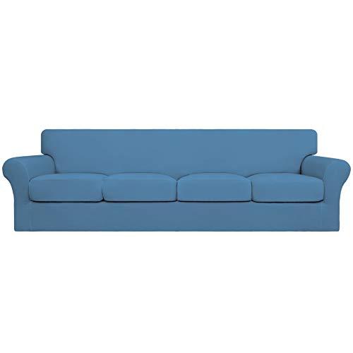 Easy-Going Funda de sofá de 4 plazas para perros de gran tamaño, elástica, suave, lavable, para 4 cojines separados, protector de muebles elástico para mascotas, color azul claro