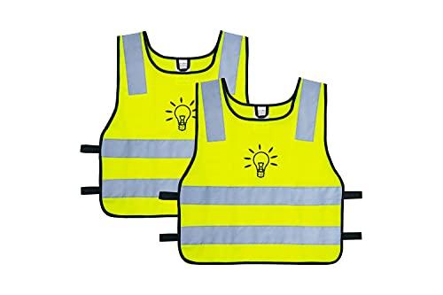 LAUTER SCHUTZ ® Warnweste [2ER Pack] für Kinder (5-12 Jahre) für bessere Sichtbarkeit bei Tag und Nacht für den Schulweg, Radfahren, Sport und Straßenverkehr