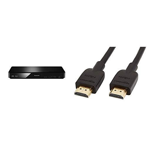 Panasonic DMP-BDT184EG 3D Blu-ray Player (4K Upscaling, DLNA, VoD, HDMI-Steuerung) schwarz & Amazon Basics Hochgeschwindigkeits-HDMI-Kabel 2.0, Ethernet, 3D, Ultra-HD1.8m, Schwarz