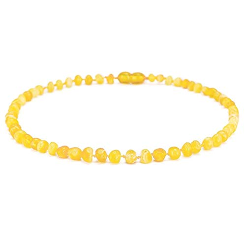 WDam Baltic Amber Teething Necklace Bracelet For Baby,Butterscotch,Small 11in 28cm