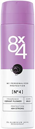 8X4 Déodorant Spray N°4 Vibrant Flower (150 ml), déodorant femme avec parfum exotique, déodorant sans aluminium pour tout type de peau