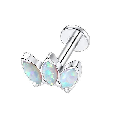 Kzslive 16G Opal Cartilage Tragus Earrings G23 Titanium Studs Earrings Women Girls Conch Helix Tragus Piercing