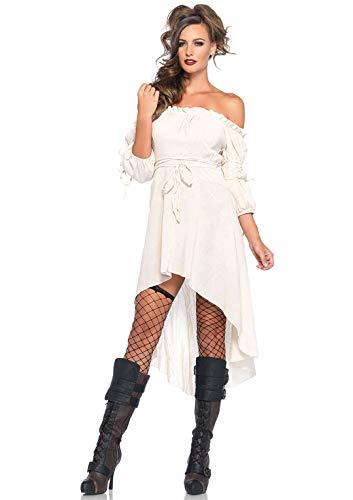 Leg Avenue Women's SM High Low Peasant Dress, Ivory, Small/Medium