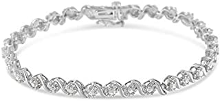 Sterling Silver Rose-cut Diamond Spiral Link Bracelet (1.00 cttw, I-J Color, I3 Clarity)