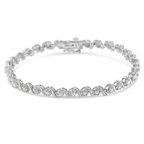 ".925 Sterling Silver 1.0 Cttw Diamond Spiral Wave Curved-Link 7"" Tennis Bracelet (I-J Color, I3 Clarity)"