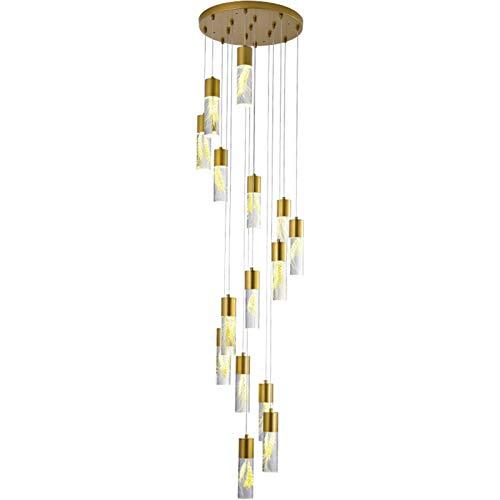 SVHK Orejas de Trigo Escaleras de araña Tipo Largo Luz Colgante Luz de acrílico de acrílico de Hierro labrado 16'para hoteles, Bares, Tiendas de Ropa, restaurantes Kitchen Island LED