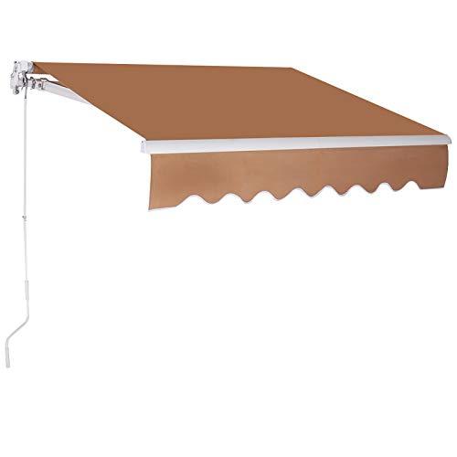 GOPLUS Balkonmarkise mit Klapparmen, Gelenkarmmarkise mit Sonnenschutz, Terrassenmarkise mit UV-Beschichtung, 300 x 250 cm Sonnenmarkise aus Aluminium (Braun)