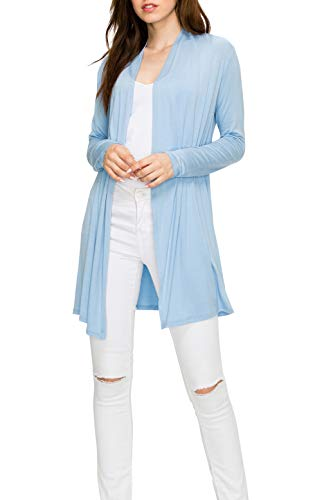 EttelLut Long Open Front Lightweight Cardigan Sweaters Regular and Plus Size Baby Blue XL