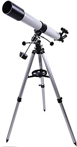 Hesolo Telescopio Refractor de 90 Mm con Visor de trípode, para niños Principiantes en astronomía, Visor de Viaje con Adaptador de teléfono