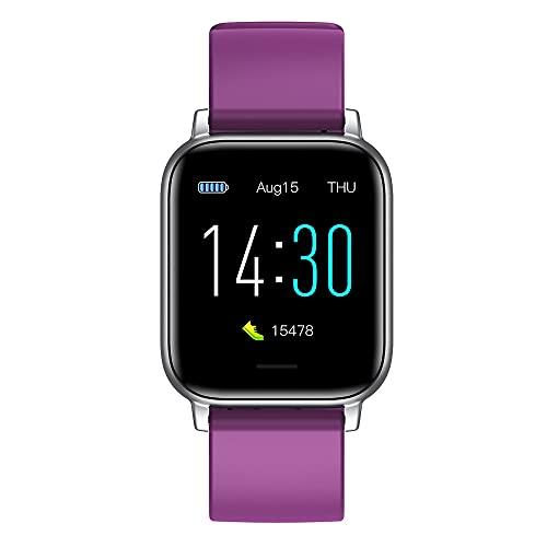 FHX Smart Smart Watch avec Haut-Parleur, fréquence Cardiaque, GPS, paiement sans Contact et Notification par Smartphone,Violet