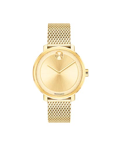 Movado Bold, Yellow Gold Ion-Plated Stainless Steel Case, Gold Dial, Yellow Gold Ion-Plated Stainless Steel Mesh Bracelet, Women, 3600580