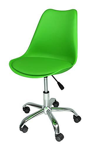 Sedia da Ufficio Girevole, Sedia da scrivania Verde con rotelle MOD. Sally