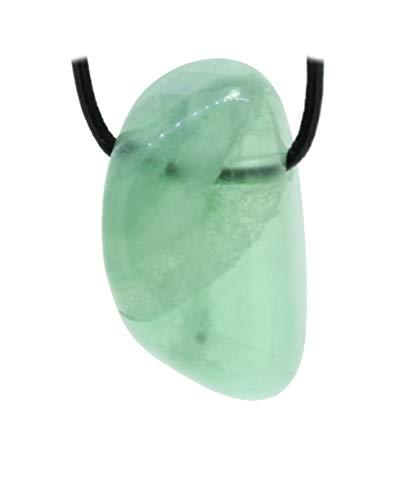 budawi® - grüner Fluorit Trommelstein Anhänger gebohrt mit Lederband, Fluoritstein