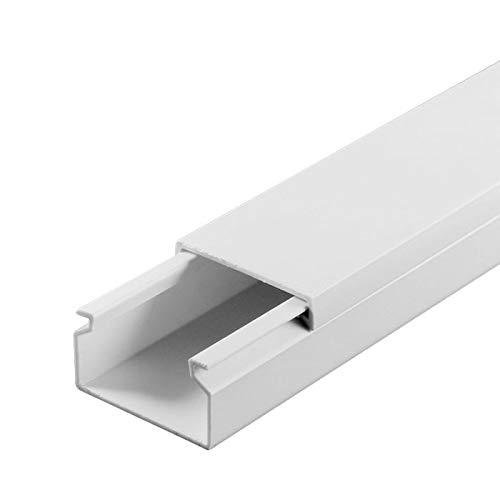 SCOS Smartcosat 10 m Kabelkanal (25 x 16 x 2000 mm (5 Stück a 2 m) B x H x L, Weiß/Weiss/Reinweiß) schraubbar PVC Kunststoff, Aufputz Wand Montage allzweck Kabelleiste, Kabelschacht