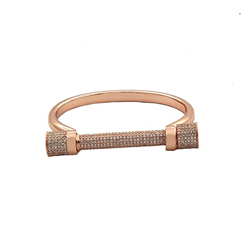 HUALIAN Pulsera de oro rosa y negro con cierre de tornillo de circonita, herradura con letra D, para mujer (diámetro de 56 a 58 mm, color metálico: color negro)