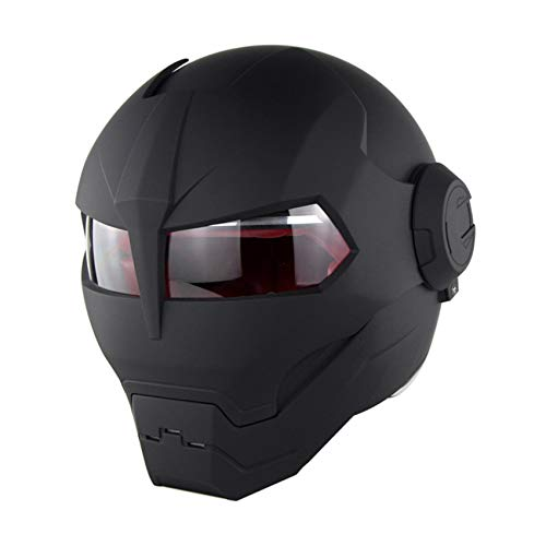 Motorcycle Helmet for Men, DOT Certified, Full Face Helmet, Comfortable Adult Bicycle Motorcycle Helmet, Unisex, Transparent Sun Visor, Effective Head Protection Personalized Helmet,Matte black,L