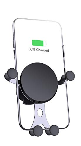 QI Wireless Car Charger, Car Phone Mount Wireless Charger, 10 W Fast Charger, Air Vent Phone Holder Wireless Charger for Samsung Galaxy S9/S9+/S8/S8+/Note 8, 7.5 W iPhone Xs Max/Xs/XR/X/ 8/8 Plus