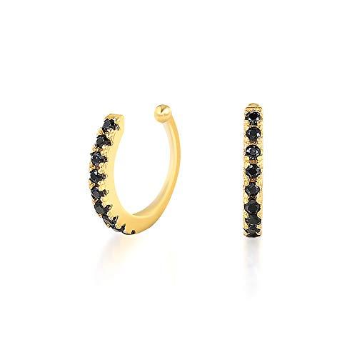 GESSIE QA01 2pcs 925 Pendientes de Clip de la Oreja de Plata esterlina para Mujeres Hombres Black Zircon Fake Cartílago Pendientes Pendientes Sin Piercing CH0401 (Gem Color : Gold Color 2)