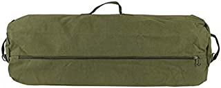 GI Style Zipper Duffel Bag OD - L Heavy Duty Army Duffel Bags - Military Grade Cotton Canvas Dufflebag - Reinforced Camping Bag - Strong Zipper & Center Grab Handle - 21